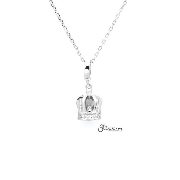Sterling Silver 3D Crown Women's Necklace