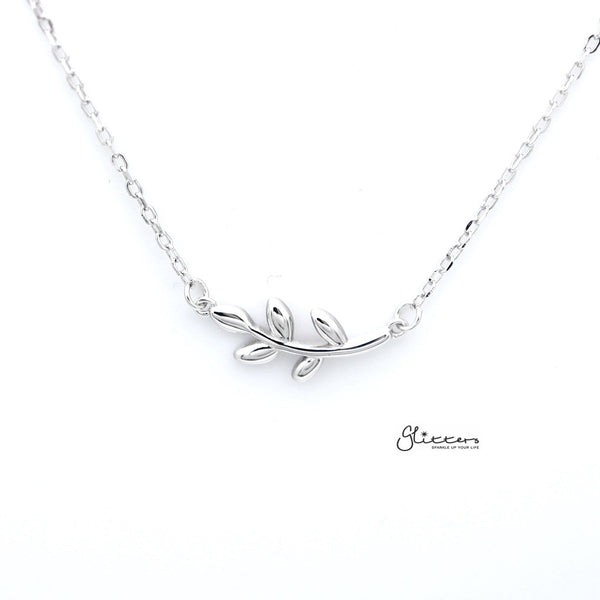 Sterling Silver Leaf Women's Necklace with 45cm Chain