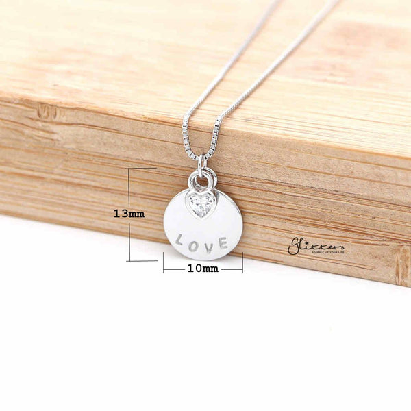 Sterling Silver C.Z Heart with Love Disc Women's Necklace with 45cm Chain