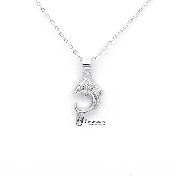 Sterling Silver C.Z Dolphin Women's Necklace