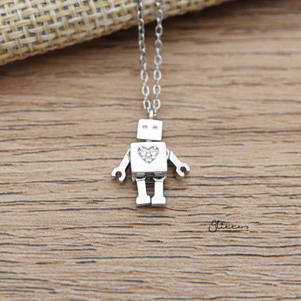 925 Sterling Silver Robot with C.Z Heart Pendant Necklace-Glitters-New Zealand