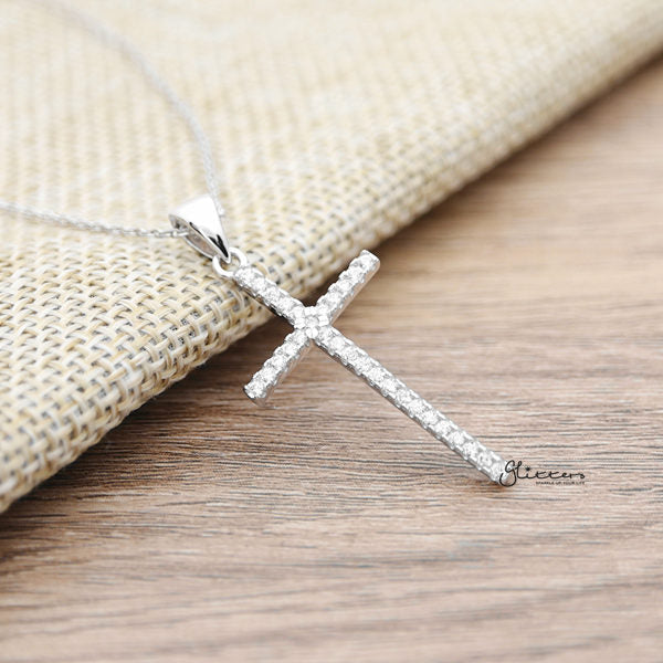 925 Sterling Silver C.Z Cross Necklace with 45cm Chain-Glitters-New Zealand