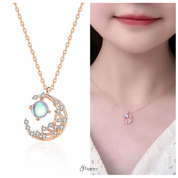 Sterling Silver C.Z Moon Necklace - Rose Gold-Necklace-Glitters