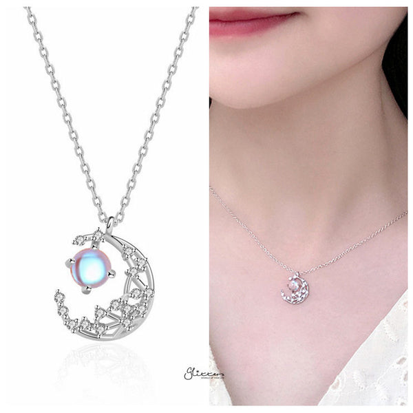 Sterling Silver C.Z Moon Necklace - Silver-Necklace-Glitters