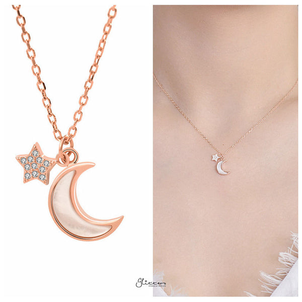 Sterling Silver Moon and Star Necklace - Rose Gold-Necklace-Glitters