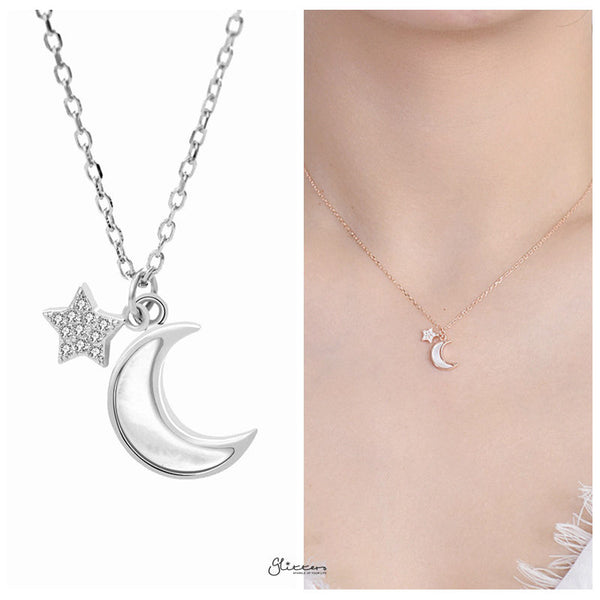 Sterling Silver Moon and Star Necklace - Silver-Necklace-Glitters