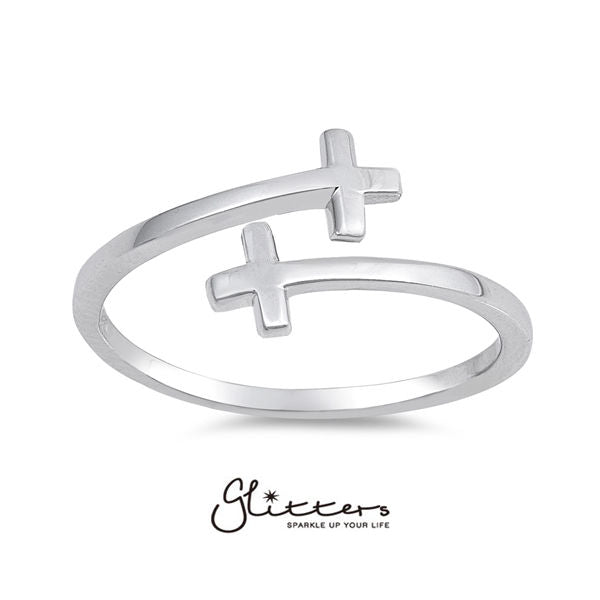 Sterling Silver Sideway Cross Ring-Glitters