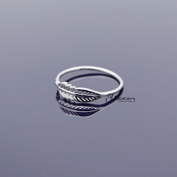 Sterling Silver Feather Women's Rings-Glitters-New Zealand