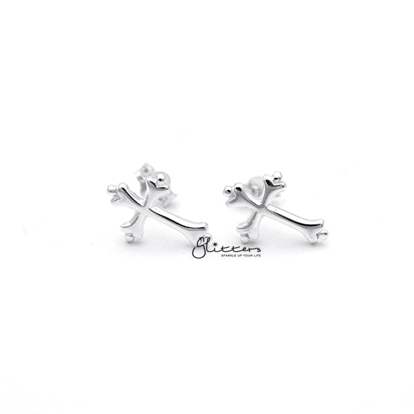 Sterling Silver Cross Stud Earrings-Glitters-New Zealand