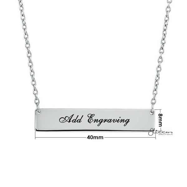 Personalized Sterling Silver Horizontal Name Bar Necklace - Large