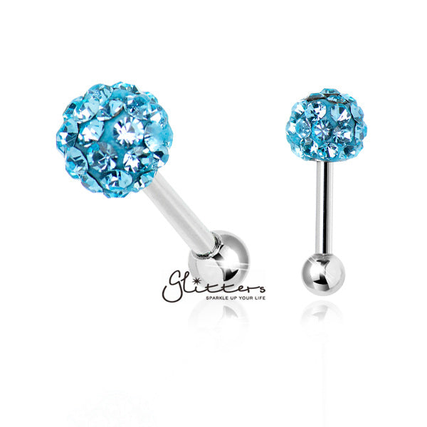 Ferido Crystal Disco Ball Top with Surgical Steel Tragus Barbell-Aqua-Glitters-New Zealand