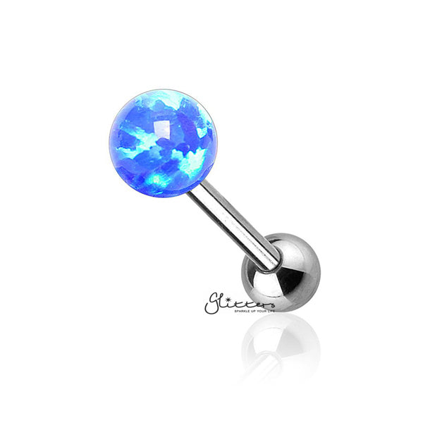 Opal Ball Top with Surgical Steel Tragus Barbell-Blue