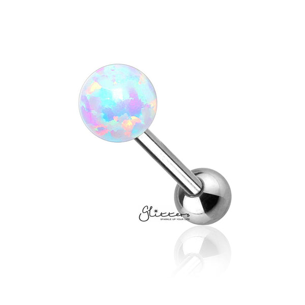 Opal Ball Top with Surgical Steel Tragus Barbell-White-Glitters-New Zealand