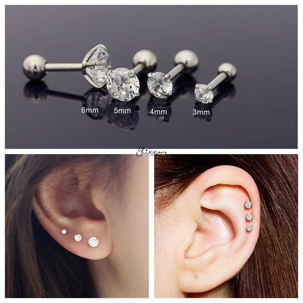 316L Surgical Steel Prong Set Round CZ Cartilage/Tragus Barbell Studs - Silver/Clear-Tragus Barbell-Glitters