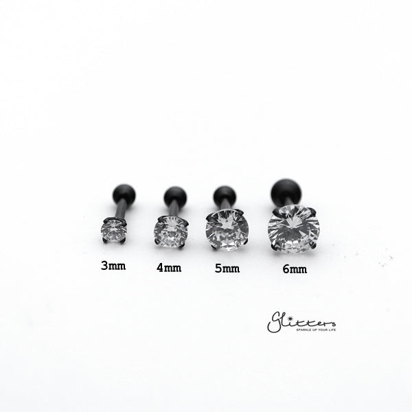 316L Surgical Steel Prong Set Round CZ Cartilage/Tragus Barbell Studs - Black/Clear-Glitters-New Zealand