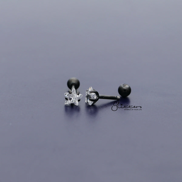 316L Surgical Steel Prong Set Star CZ Cartilage/Tragus Barbell Studs - Black/Clear-Glitters-New Zealand