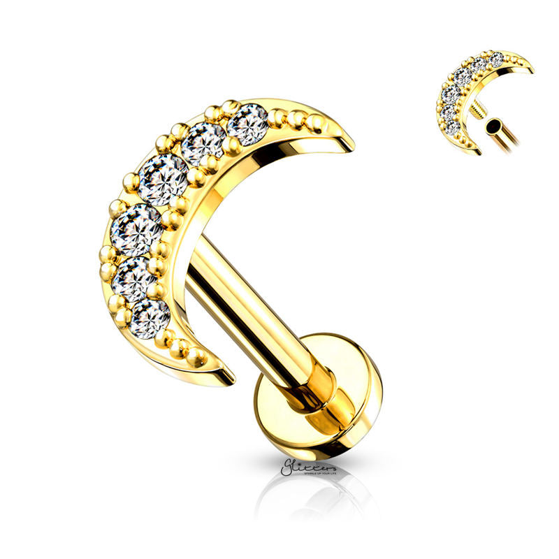 C.Z Moon Internally Threaded Top Cartilage/Tragus Flat Back Studs - Gold-Tragus Barbell-Glitters