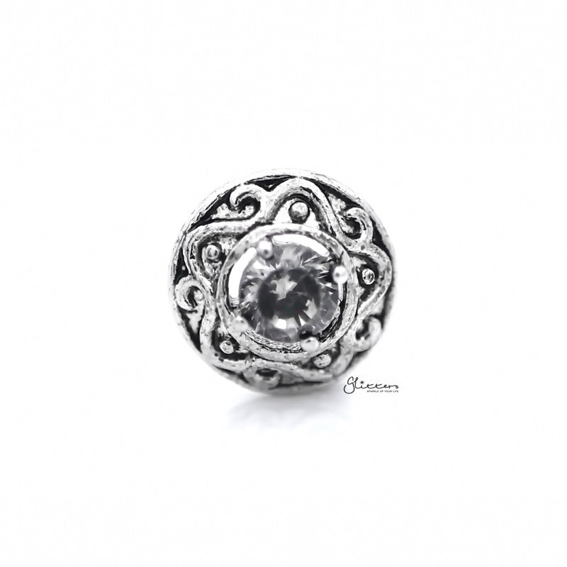 Round Tribal Pattern with C.Z Centered Tragus Cartilage Earring Stud-Tragus Barbell-Glitters