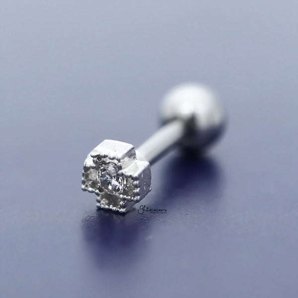 Cross with C.Z Centered Tragus Cartilage Earring Stud-Tragus Barbell-Glitters