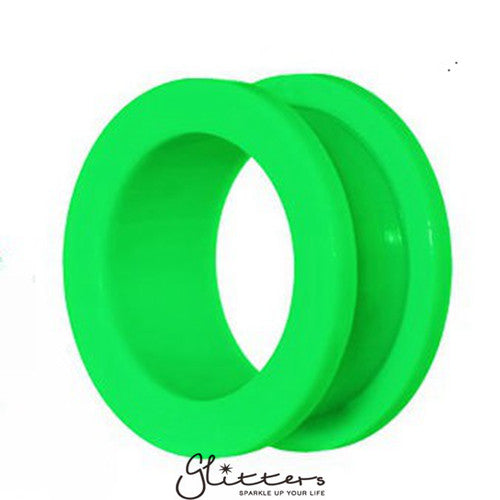 Acrylic Screw Fit Flesh Tunnel - Green-Glitters-New Zealand