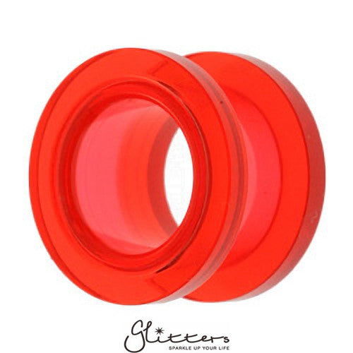 Acrylic Screw Fit Flesh Tunnel - Red-Glitters-New Zealand