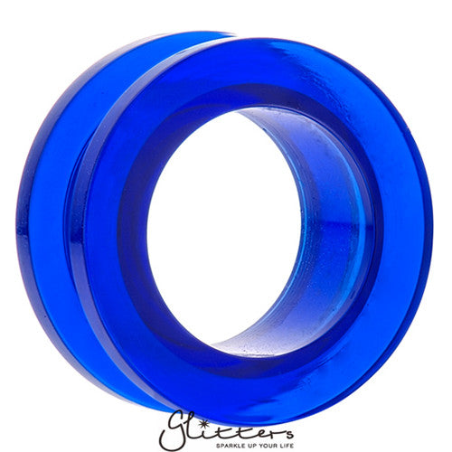 Acrylic Screw Fit Flesh Tunnel - Blue-Glitters-New Zealand