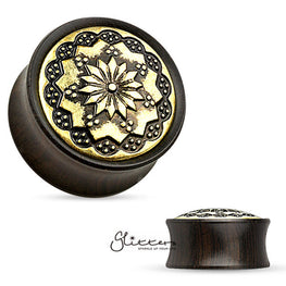 Floral Tribal Pattern Ebony Wood Double Flare Saddle Fit Tunnel