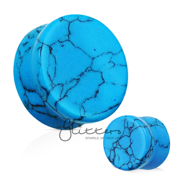 Turquoise Semi Precious Stone Solid Saddle Fit Tunnel Plugs-Glitters-New Zealand