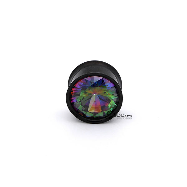 Surgical Steel Double Flared Internally Threaded Screw Fit Tunnel with Multi Color C.Z Front-Glitters-New Zealand
