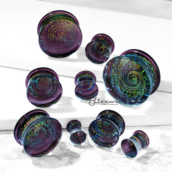 Galaxy Swirl Purple Double Flared Glass Tunnel Plugs