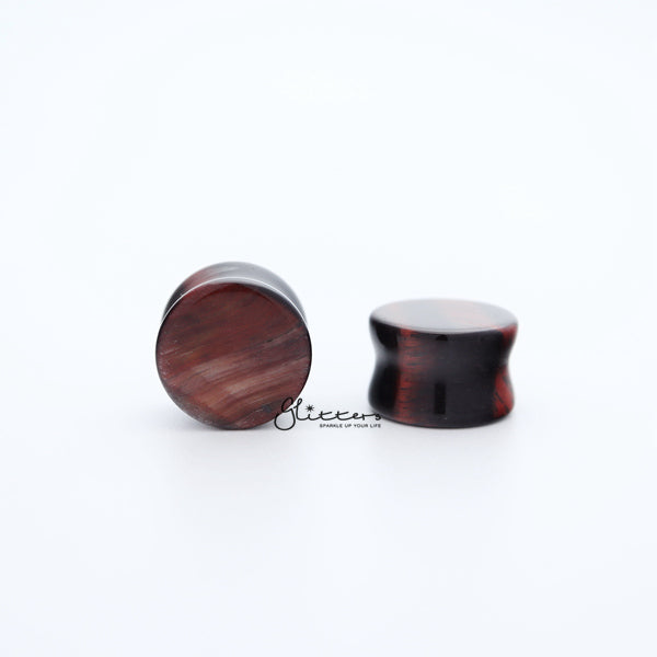 Natural Organic Red Tiger Eye Stone Double Flared Saddle Tunnel-Glitters-New Zealand