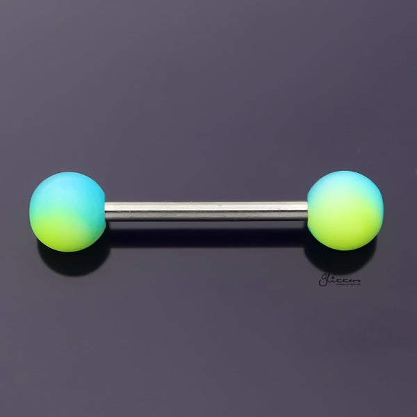 Blue and Yellow Colour Balls Tongue Barbell-Tongue Bar-Glitters