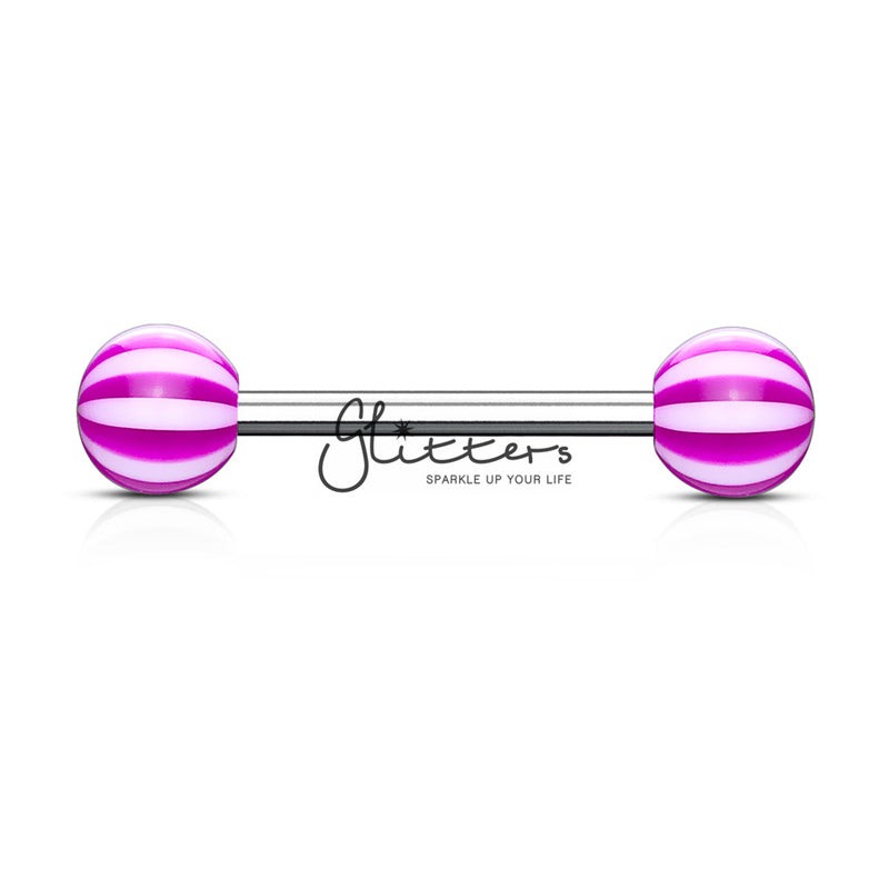 Purple Candy Stripe Acrylic Ball with Surgical Steel Tongue Bar-Glitters