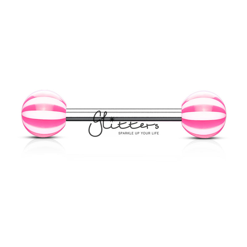 Pink Candy Stripe Acrylic Ball with Surgical Steel Tongue Bar-Glitters