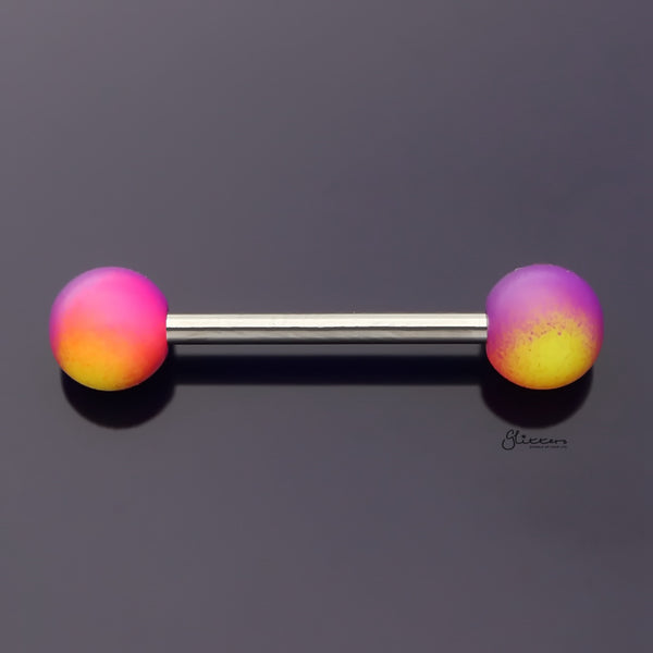Yellow and Purple Colour Balls Tongue Barbell-Tongue Bar-Glitters