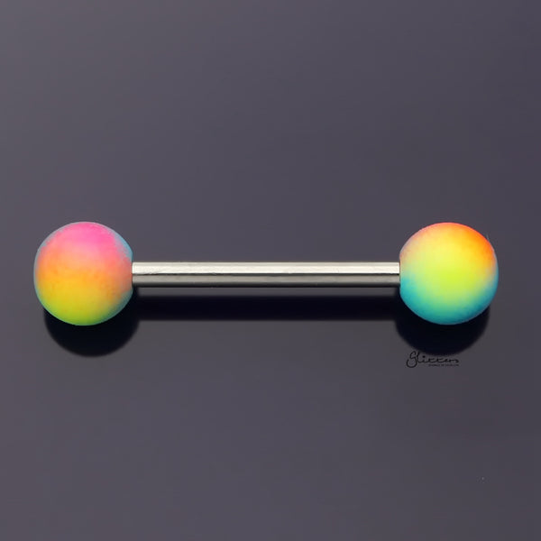 Multi Colour Balls Tongue Barbell - Yellow/Red/Blue-Tongue Bar-Glitters