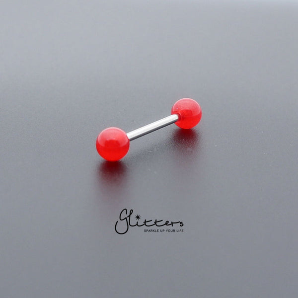 Red Solid Acrylic Ball with Surgical Steel Tongue Barbell-Glitters-New Zealand