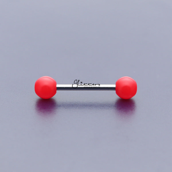 Red Solid Colour Acrylic Ball with Surgical Steel Tongue Barbell-Glitters-New Zealand