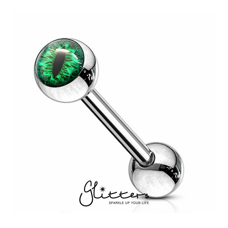 Snake Eye Inlaid Ball Surgical Steel Tongue Barbells-Green-Glitters-New Zealand