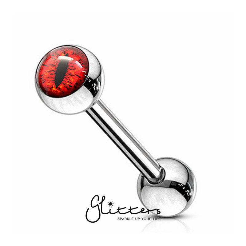 Snake Eye Inlaid Ball Surgical Steel Tongue Barbells-Red