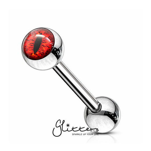 Snake Eye Inlaid Ball Surgical Steel Tongue Barbells-Red-Glitters-New Zealand