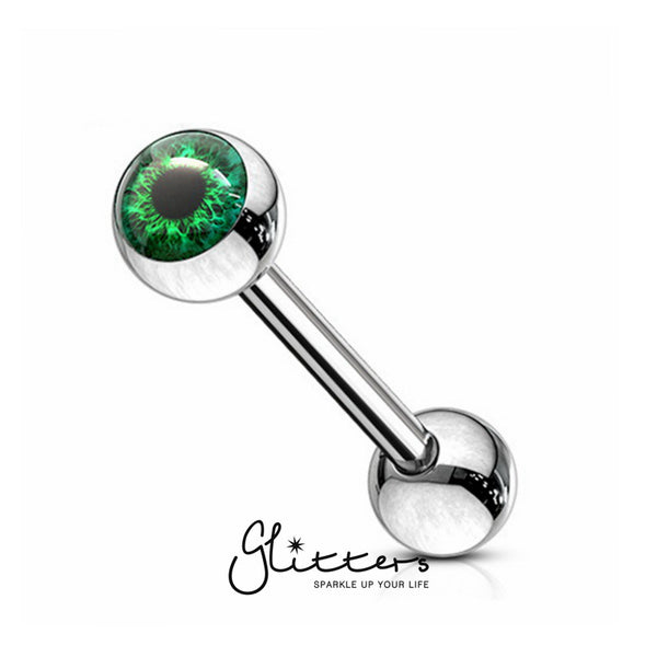 Eyeball Inlaid Ball Surgical Steel Tongue Barbells-Green-Glitters-New Zealand