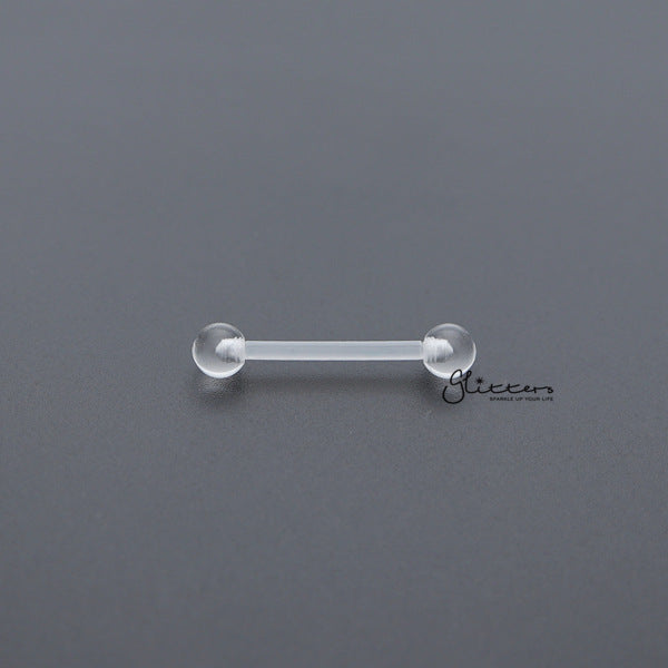 14 Gauge Invisible Clear Tongue/Nipple Barbell Retainers-Glitters-New Zealand