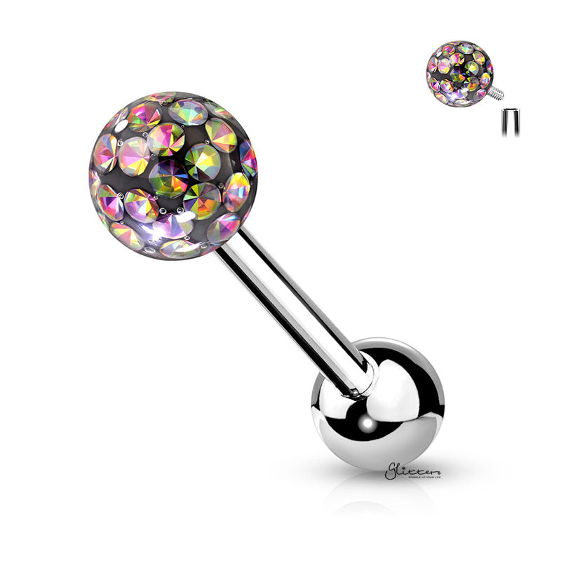 Epoxy Covered Crystal Paved Ferido Balls Tongue Barbell - Vitrail Medium-Tongue Bar-Glitters