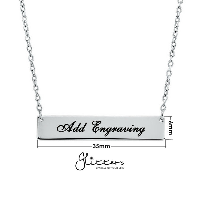 Personalized Sterling Silver Horizontal Name Bar Necklace - Medium-Glitters