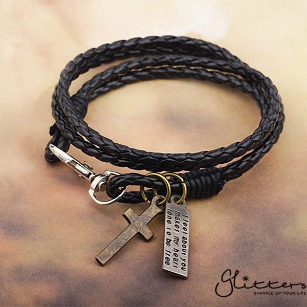 Classic Multilayer Cross Leather Bracelet-Glitters-New Zealand