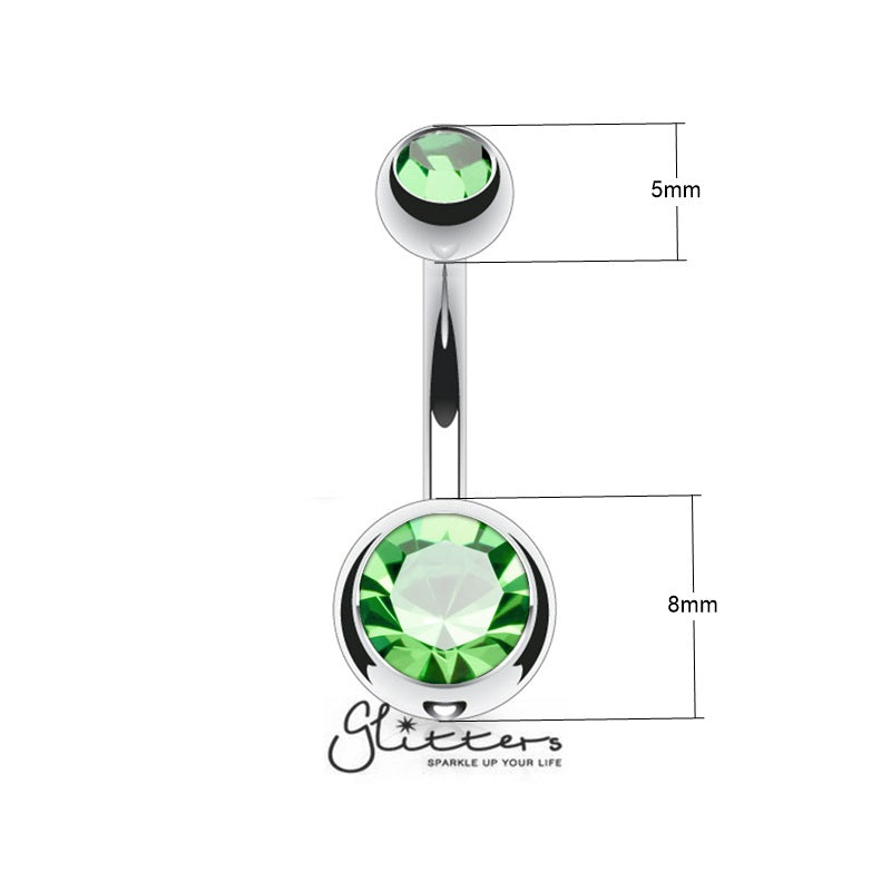 14GA 316L Surgical Steel Green Colour Double Gem Belly Ring-Glitters-New Zealand