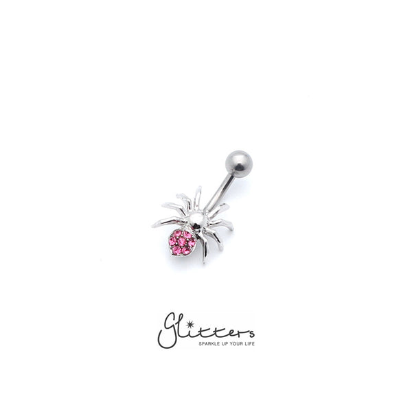 14 Gauge Surgical Steel Spider Belly Button Ring - Pink-Glitters