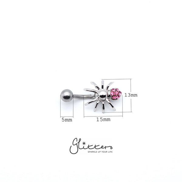 14 Gauge Surgical Steel Spider Belly Button Ring - Pink-Glitters-New Zealand