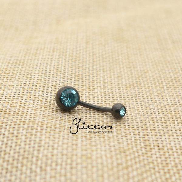 Black Titanium I.P Surgical Steel Double Gem Belly Button Ring - Aqua-Glitters